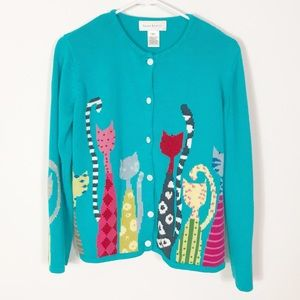 Vintage Susan Bristol Cat Lady Cardigan Sweater M
